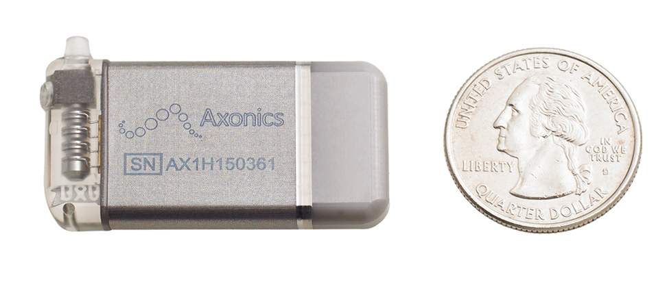 The Axonics® System equivalent in size to a quarter