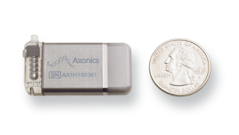 Axonics® small neurostimulator implant compared with a quarter